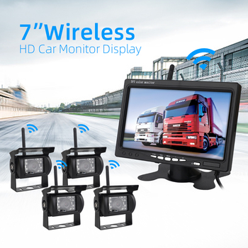 "7 ""Wireless Car Monitor TFT LCD Four Rear View Cameras Monitor Parking Rear View System For Backup Camera Use For Truck"