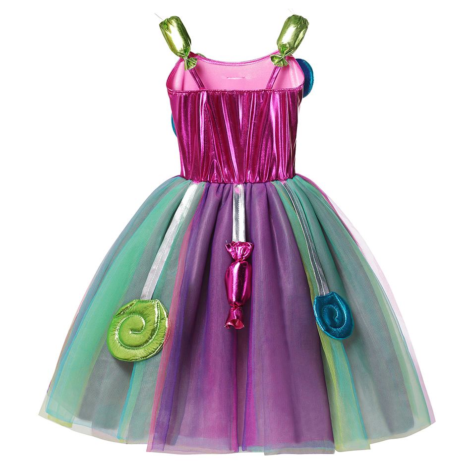 AEMUAKIDS Candy Color Tulle Dress for Girl Halloween Party Kids Cosplay Costume Little Girl Floral Casual Dresses 3