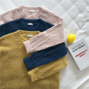 Ailegogo Winter Women Sweater Casual Thickness Warm Female Long Sleeve Loose Fit Pullovers Ladies Knitwear Tops 5