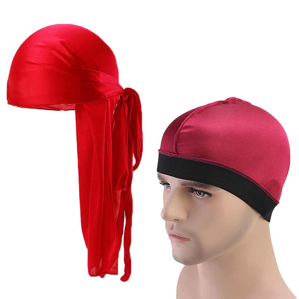 TININNA Samt Durag Piraten Cap Turban Kopftuch Headwraps Outdoor Radfahren M/ützen Sport Bandana Hut Piraten Hut mit langem Schwanz