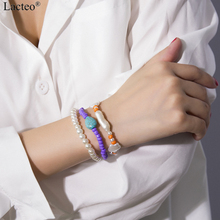 Lacteo 3 Pcs/set Bohemian Imitation Pearl Bracelet Bangle for Women Statement Colorful Beads Chain Star Stone Jewelry