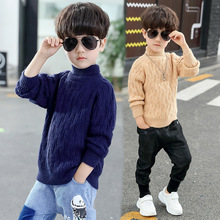Winter Kids Sweaters Boy Bottoming Turtleneck Sweater Thicken Twisted Pullovers Children Clothes Boy Knitwear Christmas Sweater недорого