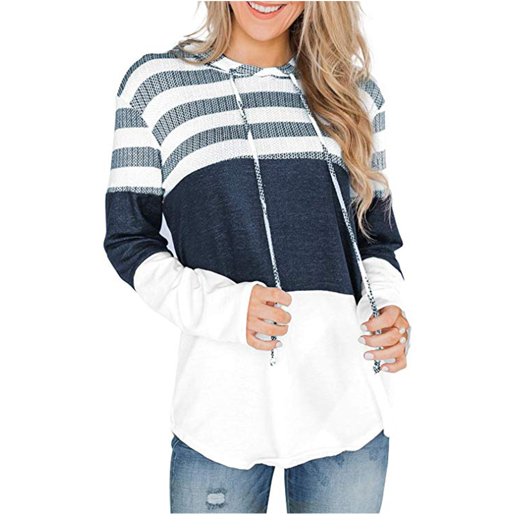 Autumn Cotton Drawsting Hoodie Sweatshirt Women Casual Long Sleeve Patchwork Stripe Jumper Hooded Pullover Tops 8 Colors
