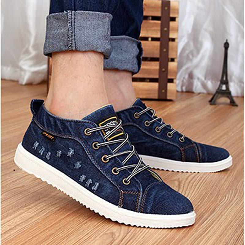 Sneakers Men Denim Canvas Shoes Lace Up Vulcanized Shoes New Casual Shoes Footwear Zapatos De Hombre