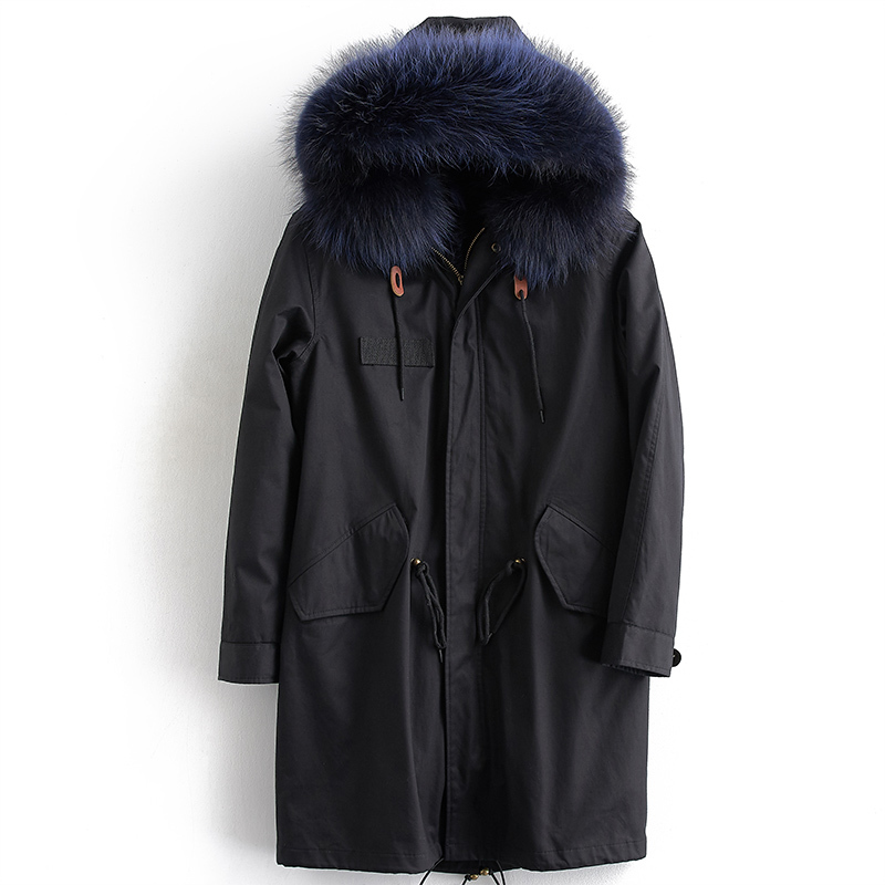 Real Fur Coat Men Parka Racoon Dog Fur Liner Men's Winter Jacket Long Coat Jackets Parkas Hombre Invierno ML-PK10 KJ1178