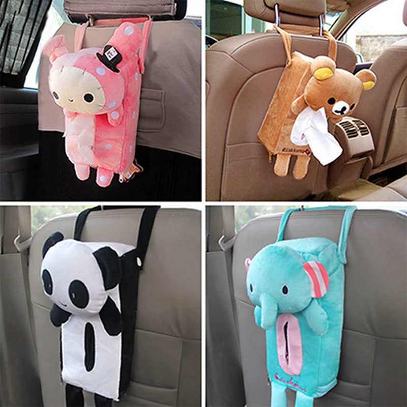1Pcs Cute Cartoon Car Seat Back Cover Holder Paper Napkin Box Tissue Box Car Accessories Styling For Gifts