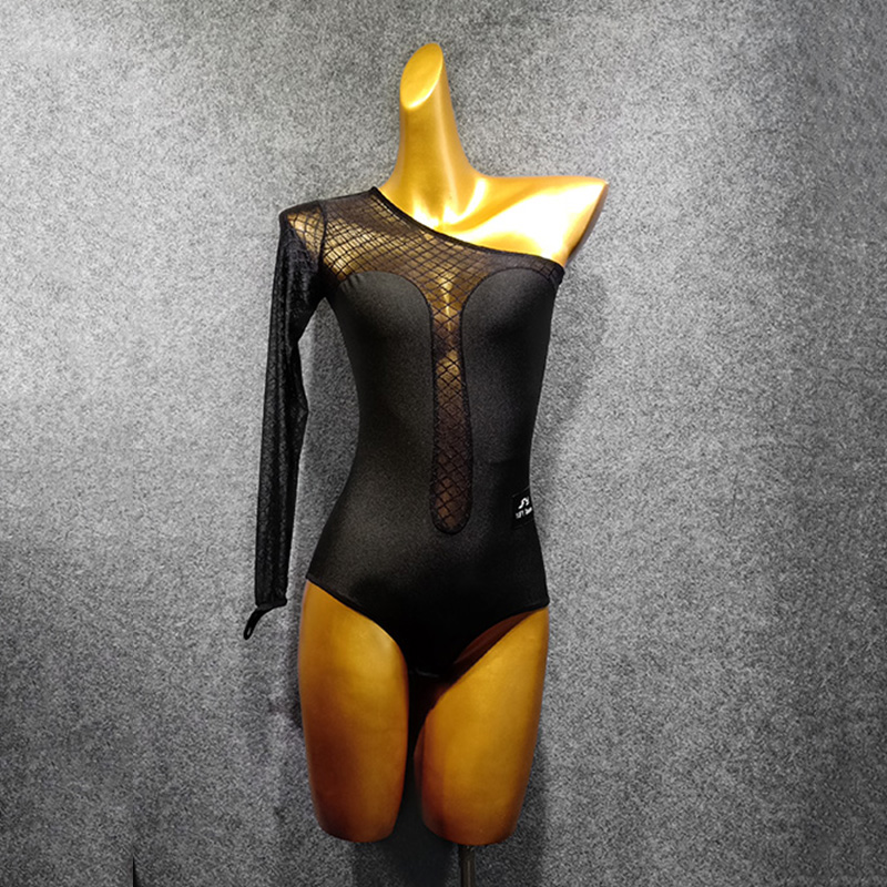 Latin Dance Top Women Jumpsuit One-Shoulder Long-Sleeved Leotard Samba Rumba Cha Cha Tango Salsa Wear Practice Clothing DN4584