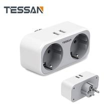 TESSAN EU Stecker Steckdose Europa Power Streifen Mit 2 Outlets 2 USB,110-250V Wand Ladegerät Adapter Überlast Schutz