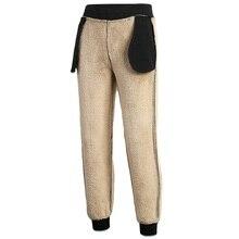 Spodnie zimowe męskie Plus rozmiar duży 6XL 7XL 8XL dorywczo gruba futrzana podszewka ciepłe spodnie polarowe elastyczny pasek wszywany duże spodnie męskie