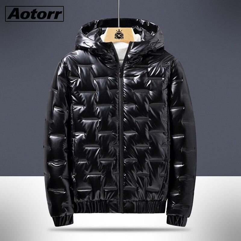 Зимняя мужская парка с капюшоном, ветровка, модные теплые пальто, мужские плотные теплые глянцевые черные куртки, Брендовая верхняя одежда ...