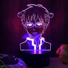 Anime luz a vida desastrosa de saiki k led night light colorido nightlight anime presente 3d lâmpada saiki k para a decoração do quarto
