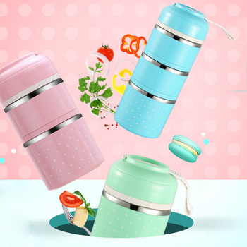 WORTHBUY Cute Japanese Lunch Box For Kids Picnic School Food Container Stainless Steel Bento Box Kitchen Leak-Proof Lunchbox feigo 1pcs hamburger burger shape bento box lunch box for kids food container lunchbox plastic kitchen food novelty picnic f488