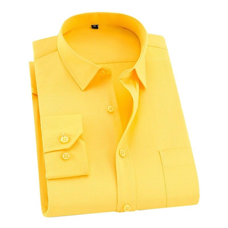 DAVYDAISY 8xl 7xl Men Shirt Long Sleeved Man Business Causal Shirts Twill White Yellow Shirt Brand Formal Shirts Soft DS275(China)