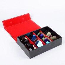 مربع النظارات الشمسية 4 شبكة السفر المحمولة نظارات صندوق الرجال و نظارات نسائية صندوق عرض نظارات صندوق تخزين التشطيب الأحمر أسود