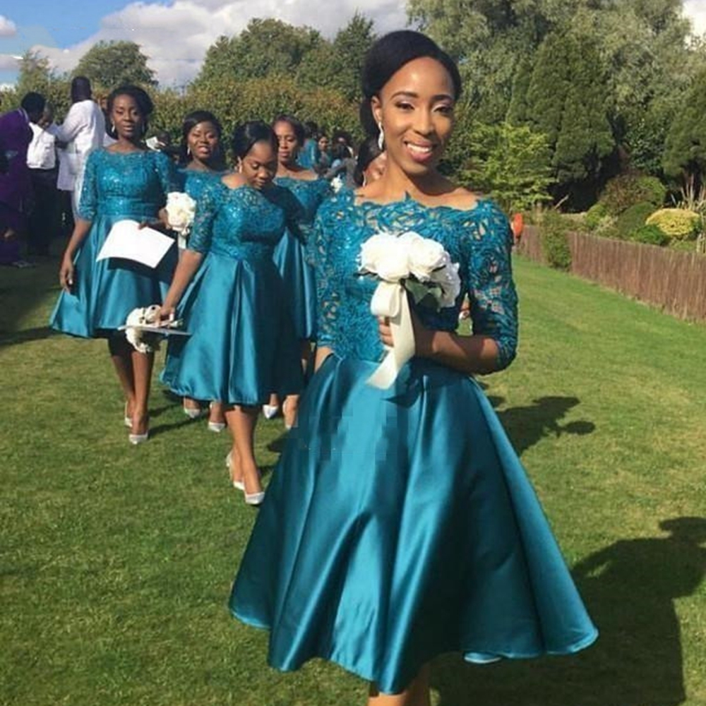 Bridesmaid Dresses A Line Knee Length Half Sleeves African Style Wedding Guest Bateau Prom Party Gowns Form Women