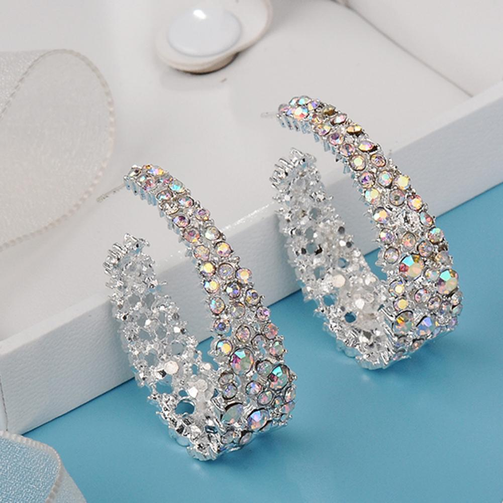 Alloy Colored Earrings Fashion Women C Type Dangle Colorful Rhinestone Inlaid Earrings Jewelry Gift Glitter Colored Earring Gift