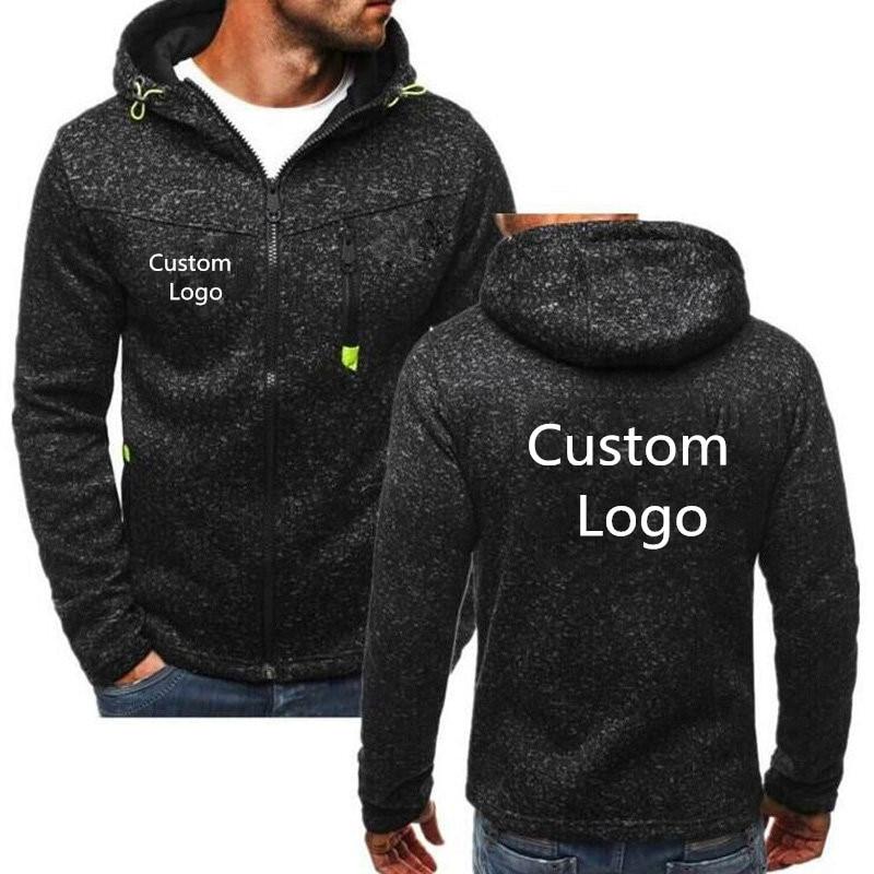 Customized Logo Printed Spring Antumn Hoodies Sweatshirts Men Free Personalise Zip Up Jackets Men Long Sleeve Casual Hoody Coats