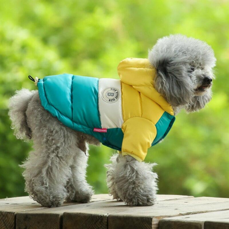 Куртка для маленьких питомцев, зимняя теплая одежда для собак, костюм для щенков, толстовка с капюшоном, светильник, два фута, пальто, лыжный костюм, чихуахуа-1