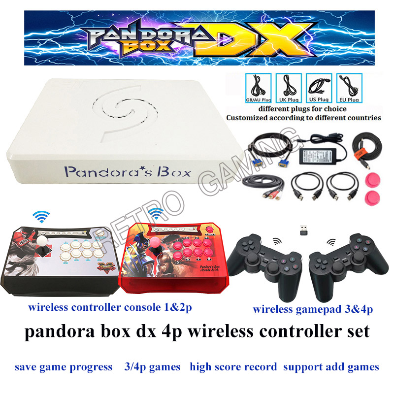 Original Pandora Box DX 3000 In 1 4P Wireless Controller Console & Gamepad Set 34*3d Game Can Add More Games Save Game Progress
