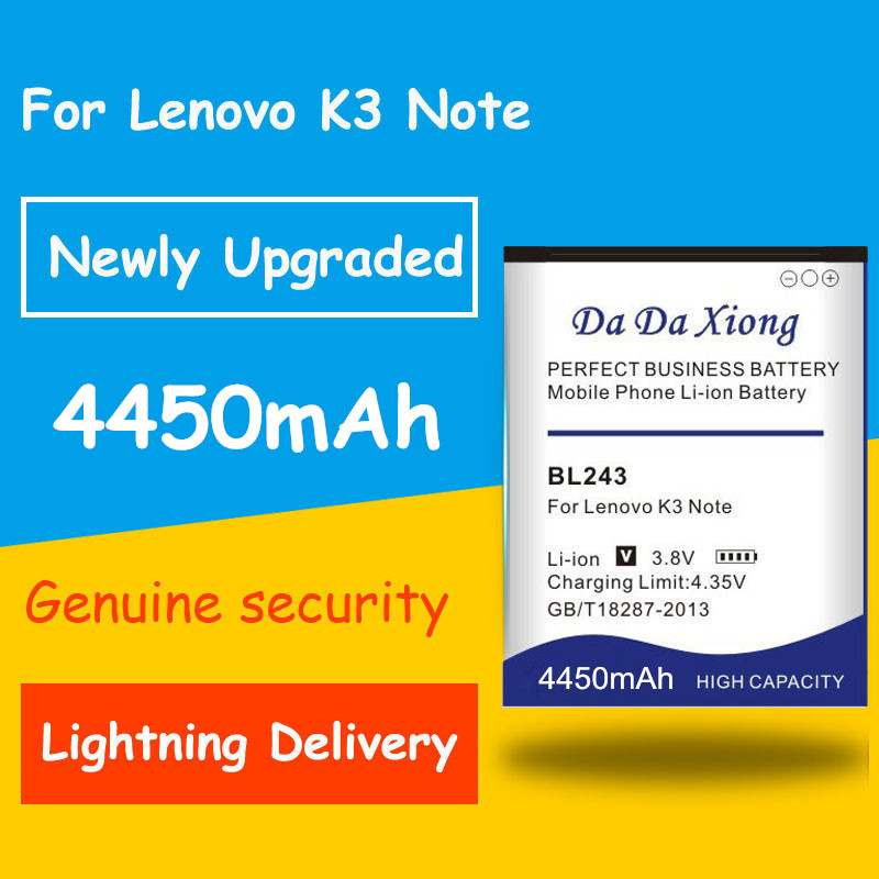 Free shipping 4450mAh BL243 Battery for Lenovo K3 Note K50-T5 K50-T3S A7000 A5500 A5860 A5600 A7600 Replacement batteria image