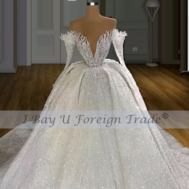 wedding : 350cm Long Train 6m Veil Princess De Luxe 2021 Beading Full Luxury Lace Ball Gown Wedding Dress Off the Shoulder