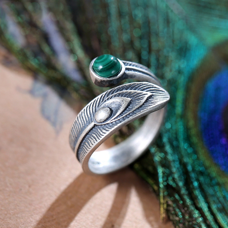 Sterling Silver Malachite Feather Stacking Ring