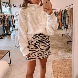 DICLOUD Turtleneck Oversized White Sweater Women Autumn 2019 Long Sleeve Pullover Knitted Jumper Winter Jersey Woman 2
