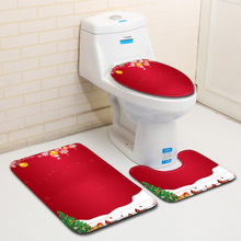 Toilet Cushion Set Anti Slip Shower Rug Carpets Toilet Mat Bathroom Accessories Toilet Lid Bath Mats Toilet Rugs Christmas Theme цена 2017