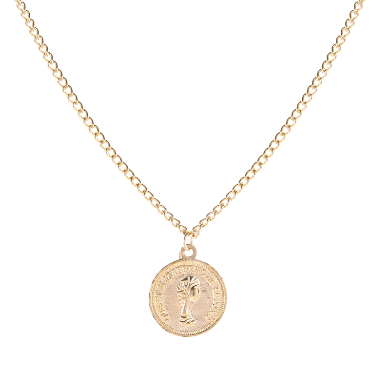 Fashion Beauty Head Charm Pendant Necklaces For Women Gift Vintage Coin Gold Color Chains Necklace Statement Jewelry Wholesale