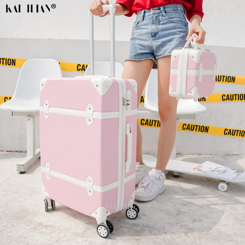Travel Belt Korean Retro Women Rolling Luggage Sets Spinner ABS Students Travel Bags 20 Inch Cabin Password Suitcase On Wheels