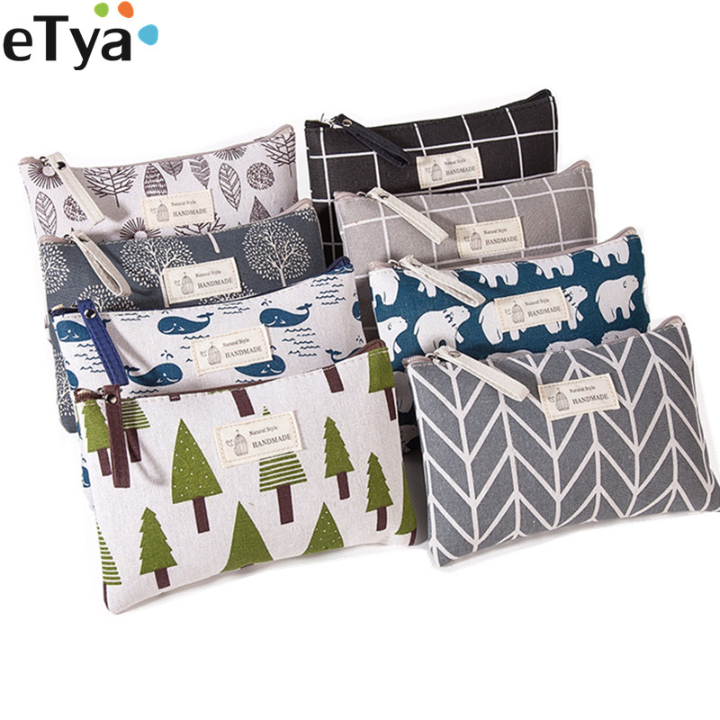 ETya Women Plaid Makeup Bag Cute Cosmetics Makeup Bag Travel Ladies Zipper Toiletry Pencil Purse Organizer Purse Pouch Handbags