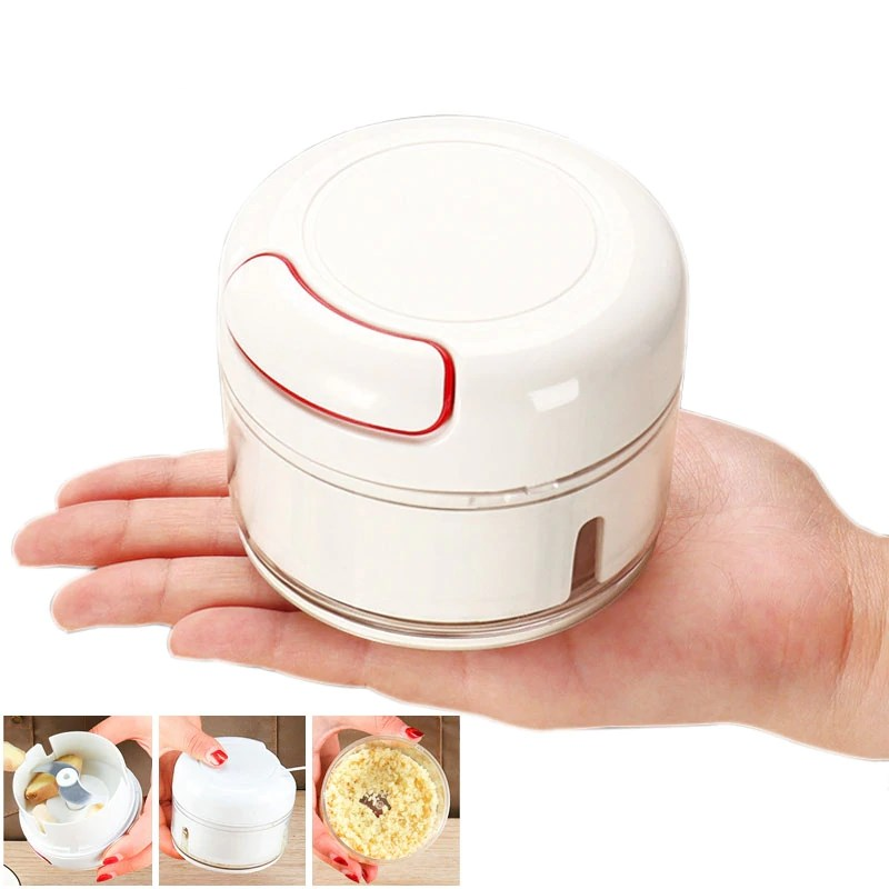 Mini Food Garlic Vegetable Grinder Chopper Mincer Crusher Press for Meat Nuts Pepper Onion Multi-function Manual Food Processor