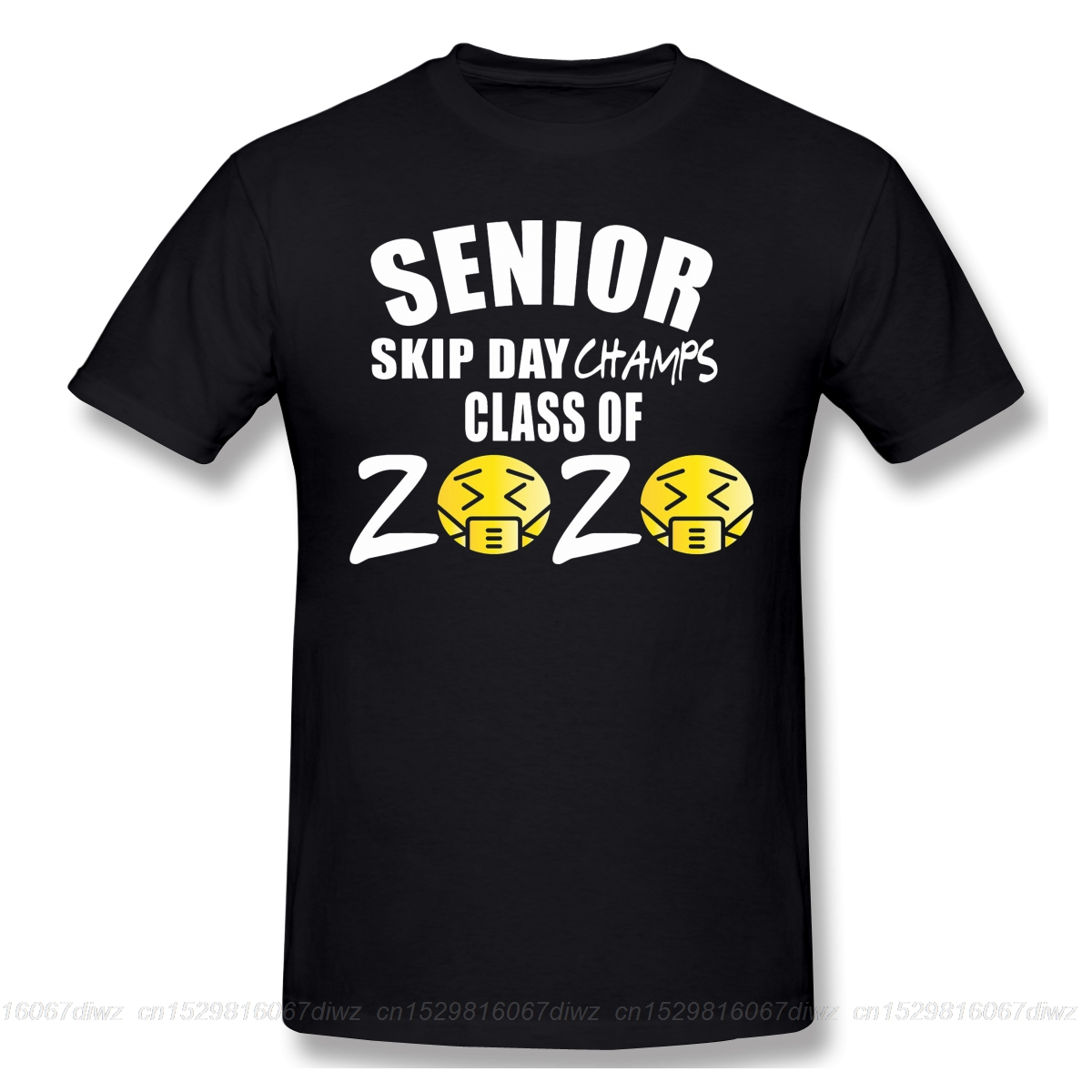 Senior Skip Day Champs black T Shirt senior class of 2020 homme T-Shirt Tees Pure Cotton Amazing Short Sleeve image