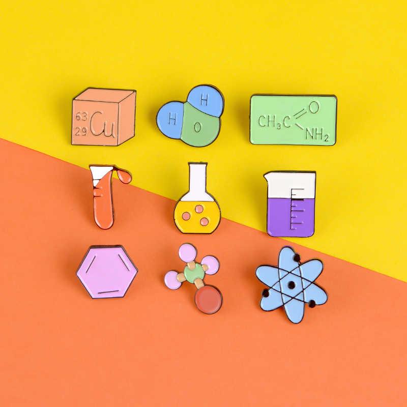 Chimica scienza dello smalto pin Elemento struttura strumento spille borsa Camicia Risvolto dello smalto gioielli distintivo pin Chimica gli amanti del regalo