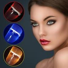 3 צבעים LED אור טיפול פנים מסכת יופי מכשיר פנים ספא טיפול אנטי הזדקנות אקנה קמטים הסרת עור להדק יופי