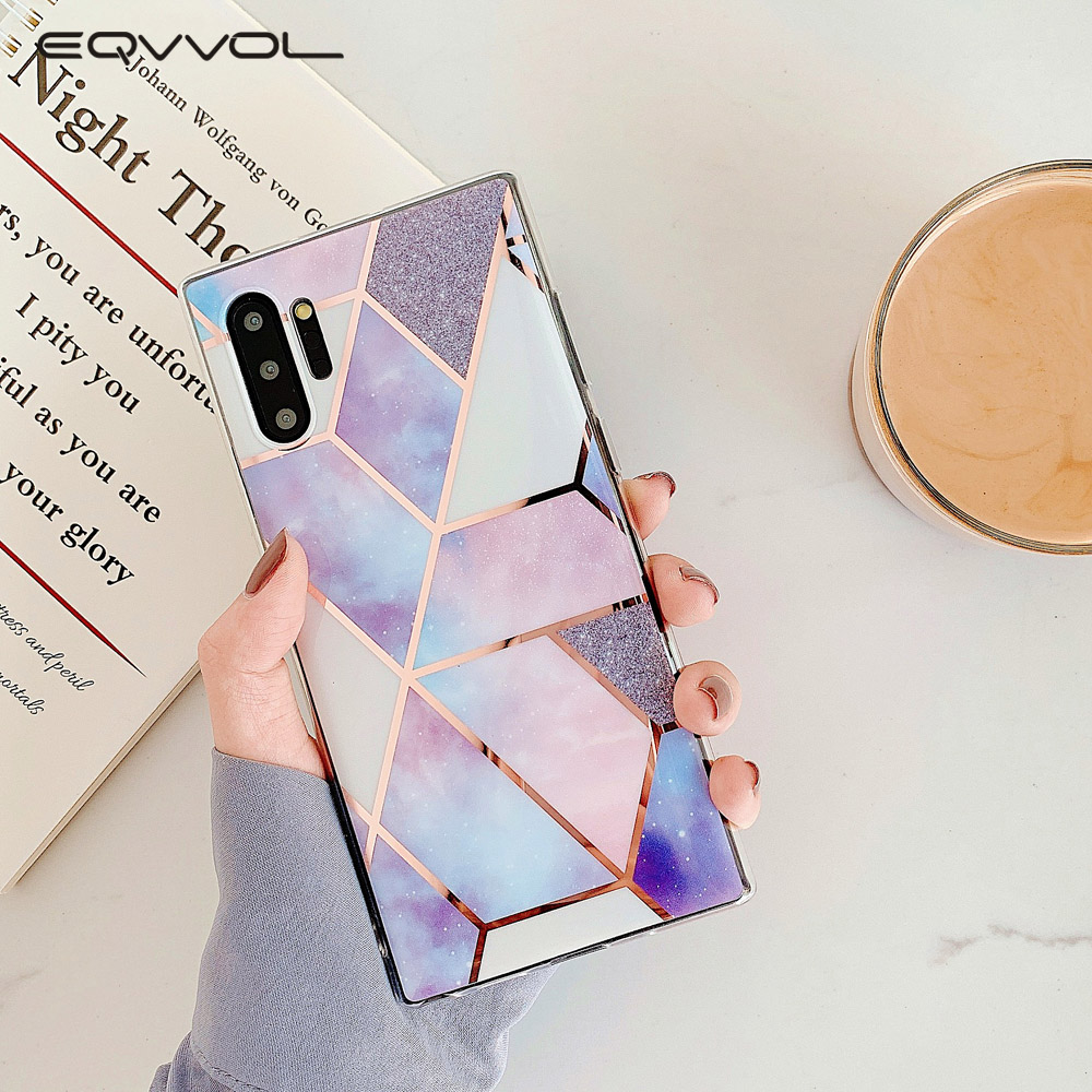 Eqvvol Geometric <font><b>Marble</b></font> <font><b>Case</b></font> For <font><b>Samsung</b></font> Note 8 9 10 Pro S10 Plus S9 S8 S7 Electroplated IMD Soft <font><b>Case</b></font> For <font><b>Samsung</b></font> <font><b>A50</b></font> A70 Cover image