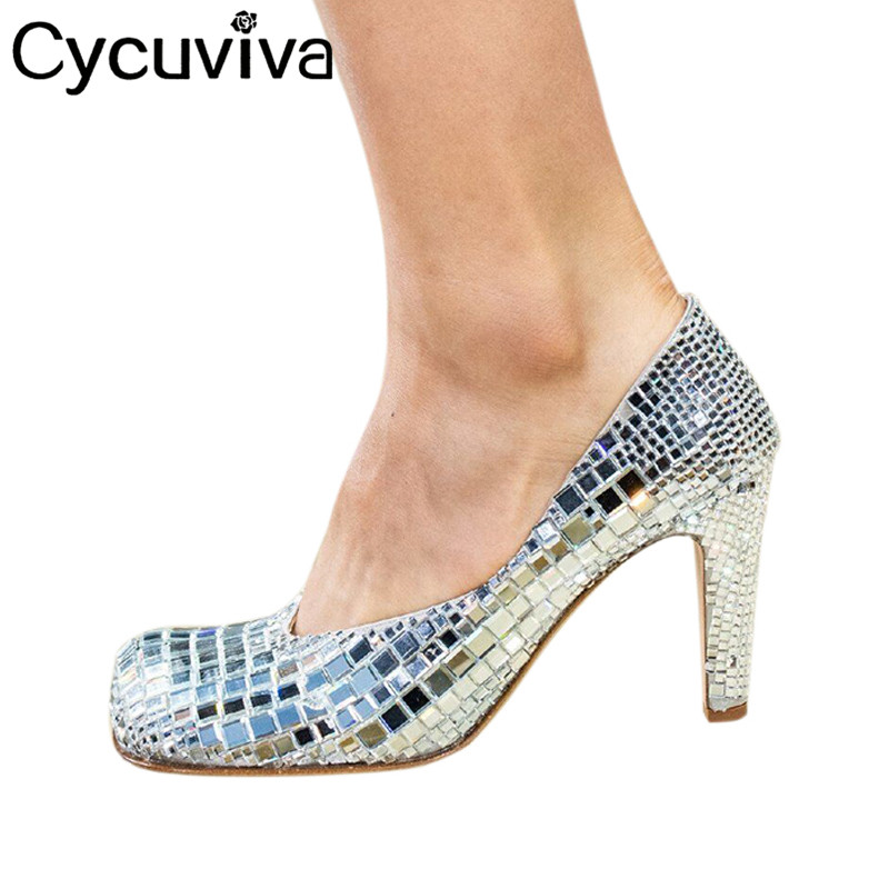 New Luxury brand Shoes Women Crystal Square toe High Heels Ladies Shoes Glitter Silver Rhinestone Pumps Sexy wedding Party Shoes