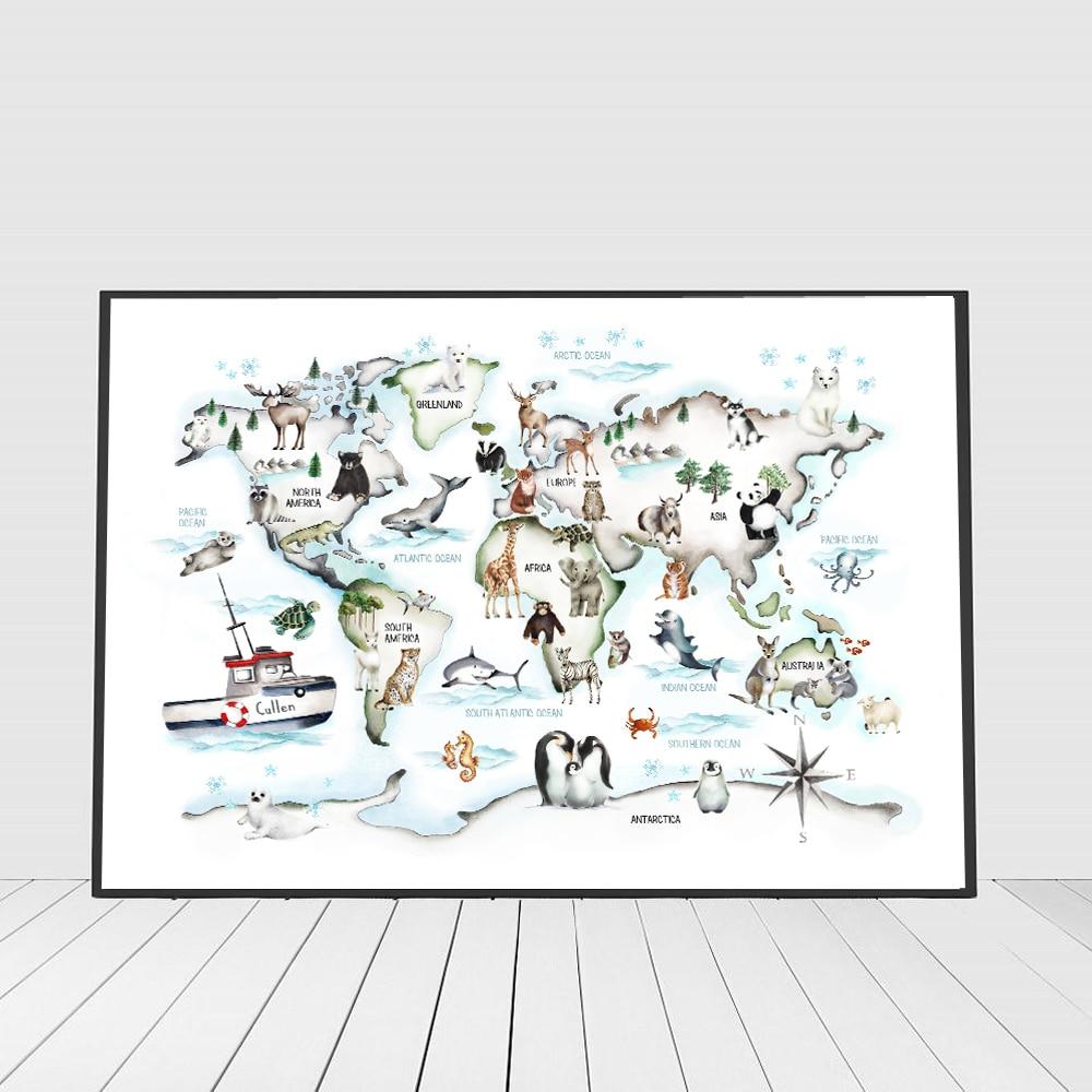 Мультяшные животные, Карта мира, настенные фотографии для детской комнаты, украшение для дома, Детские постеры и принт, детская картина Cnavs