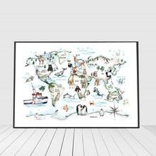 Animais dos desenhos animados mapa do mundo imagens de parede para o quarto das crianças decoração para casa berçário crianças cartazes e impressão arte do bebê cnavs