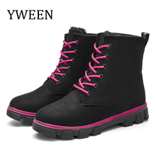 YWEEN Snow boots 2019 warm fur plush Insole women winter square heels shoes lace-up