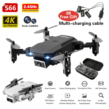 Mini RC Drone 4K HD Dual Camera Wifi FPV Foldable Drone HD Wide Angle Camera Helicopter Quadcopter Drone RC Toys For Kids S66 newest jumper cx 91 5 8g fpv rc quadcopter racing drone with 720p hd camera vs cx22 x380 model rc helicopter