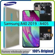 "Originele 5.9 ""Amoled Voor Samsung A40 2019 A405F Lcd Touch Screen Digitizer Vergadering Met Frame Vervanging Reparatie Onderdelen"