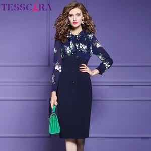 Image 2 - TESSCARA נשים סתיו אלגנטי עיפרון שמלת Festa נקבה משרד מסיבת גלימה באיכות גבוהה אימפריה מותן מעצב בציר Vestidos