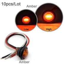 "10pcs Waterproof 12V 3LED 3/4"" Round  Red Amber LED Side Marker Light for Truck Trailer ,with 3 Wires Setup, High Low Function"