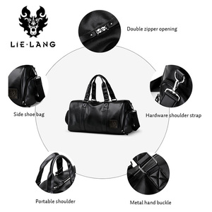Image 5 - LIELANG ชายสีดำกระเป๋าถือหนังกันน้ำขนาดใหญ่ความจุ Duffle Multifunction Tote Casual Crossbody กระเป๋า