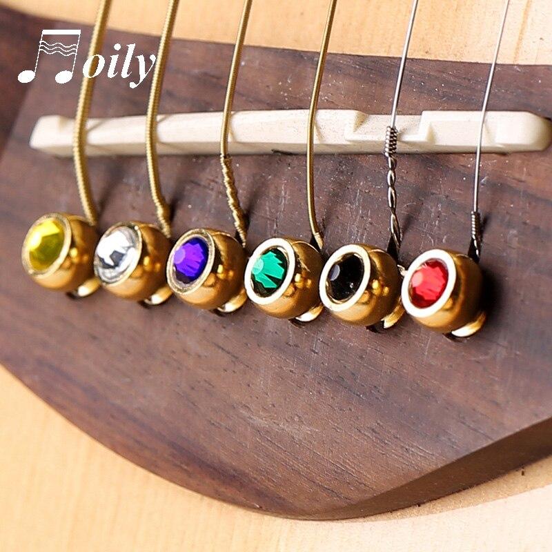 1 pçs guitarra acústica corda ponte pinos colorido cobre bronze endpin peças de reposição acessórios