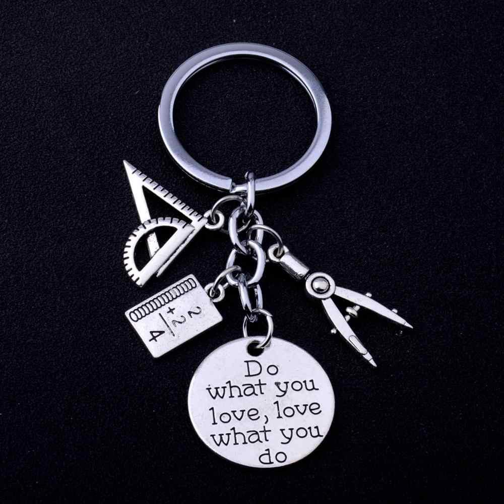 12PC Guru Matematika Gantungan Kunci Terukir Kata Melakukan Apa Yang Anda Cintai Mencintai Apa Yang Anda Lakukan Gantungan Kunci Kompas Segitiga Penggaris Matematika pesan Liontin