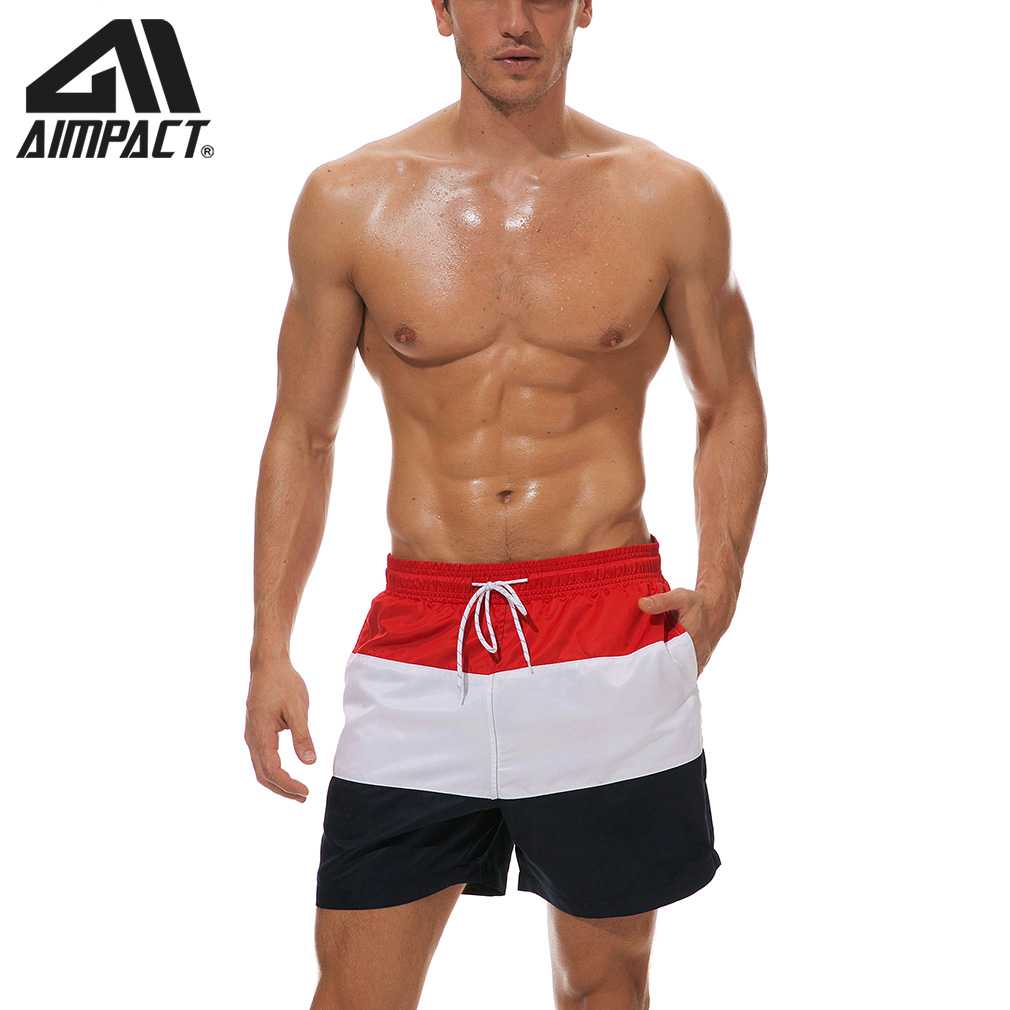 Men's Jogger Shorts Bath Suits Striped Beach Shorts Surf Swim Short Trunks Quick Dry Boardshorts With Drawstring For Men AM2301