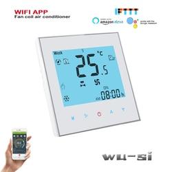 Tuya 24vac 95-240vac 4 tubo 2 wifi ar condicionado termostato, funciona com alexa google casa wifi termostato