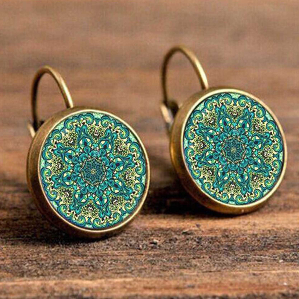 Hb1b91b6da6eb46b199d0f58e31a01344S - FSUNION Boho Flower Drop Earrings For Women Vintage Jewelry Geometric Pattern Round Earings Bijoux boucles d'oreilles bohemia